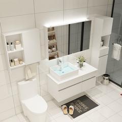 沐良卫浴 浴室柜现代简约家装实木防水免漆浴室柜 黑白木纹款浴室洗脸盆洗手盆组合套装