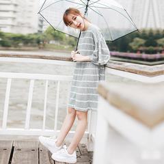 韩国新款条纹印花连衣裙五分袖喇叭袖中长款百褶裙学生宽松裙子夏