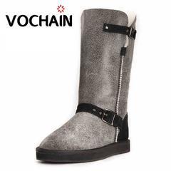 vochain雪地靴女高筒靴羊皮毛一体加厚女靴真皮防水平底保暖靴子