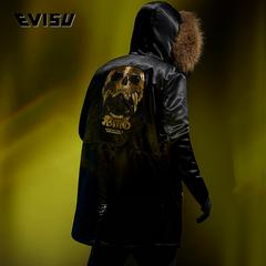 EVISU EVISUKURO 18AW 男士般若骷髅刺绣羽绒外套 1EAGNM8NC733XX