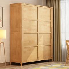 一米色彩 衣柜 实木衣柜 北欧日式推拉两门衣橱 滑门 小户型简约现代木质卧室家具 原木色