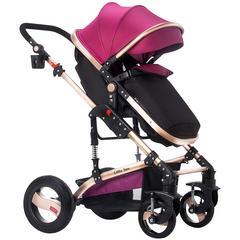 L-SUN小太阳豪华版高景观婴儿手推车0-3岁宝宝可坐可躺儿童双向推行折叠661-8HT 典雅紫