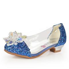 女童秋鞋小女孩子水晶鞋灰姑娘儿童高跟鞋公主皮鞋水钻单鞋闪