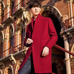 太平鸟男装 新款毛呢大衣韩版修身呢大衣男时尚羊毛大衣红色外套