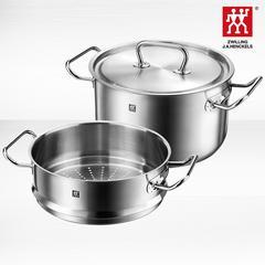 德国双立人单层蒸锅24cm汤锅蒸笼锅具2件套装3层加厚复底不锈钢