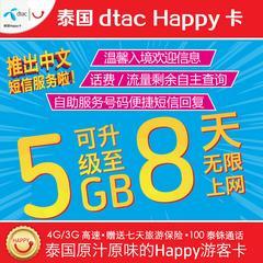 泰国电话卡Happy卡7/8天无限流量手机上网4G/2G三合一普吉岛旅游