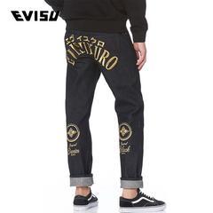 EVISU EVISUKURO 18AW 男士修身家纹刺绣牛仔裤 1EAADM8JE16510