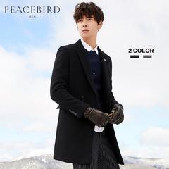 PEACEBIRD太平鸟男装冬季新款黑色修身中长款绅士双排扣羊毛大衣毛呢大衣潮流外套