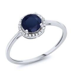 美国进口GSK1.18克拉天然蓝宝石钻石戒指10K金经典彩色宝石女戒