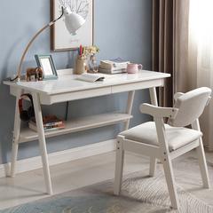 沐晨 电脑桌 实木电脑桌 台式家用卧室书桌简易日式办公桌简约现代学生写字台桌 1米单桌(双抽屉)