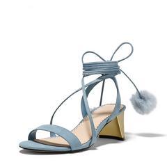 欧美2017夏季新款露趾系带罗马凉鞋女绑带毛球粗跟高跟鞋中跟女鞋