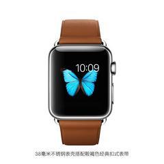 苹果Apple不锈钢表壳搭配鞍褐色经典扣式表带