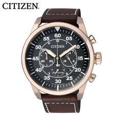 西铁城CITIZEN手表网专棕色皮带光动能男表CA4213-00E
