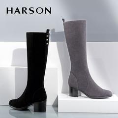 哈森女靴 2016秋冬新款女靴时尚女鞋冬季加绒靴子女长靴粗跟高筒靴