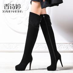 香诗婷羊反皮高跟过膝靴秋冬磨砂羊皮真皮过膝长靴细跟防水台女靴