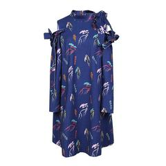 密扇百戏局设计师原创女装秋新款长袖蓝色复古印花个性绑带连衣裙