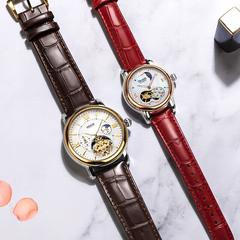 尼尚(Nesun)情侣手表一对 机械表情侣对表 飞轮 镂空防水钟表 情侣表